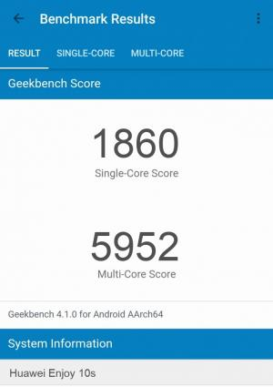 Huawei Enjoy 10s GeekBench 4 результаты